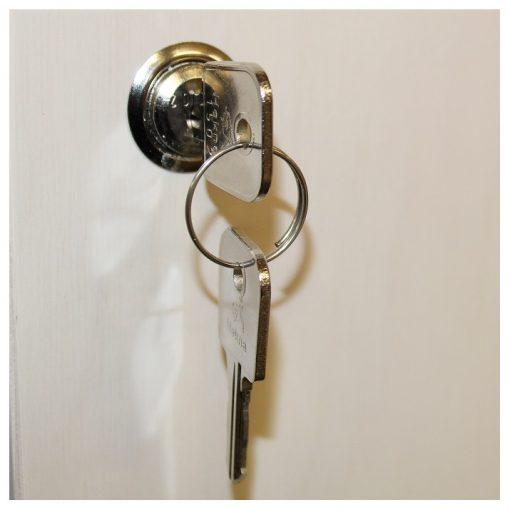 Lås m. 2 nøgler til skab og låger
